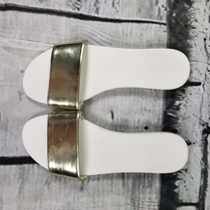 J Crew Gold Patent Leather sandals white sole 10
